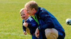 Leinster coach Leo Cullen with his son Con at the RDS training session. Photo: Piaras Ó Mídheach/Sportsfile
