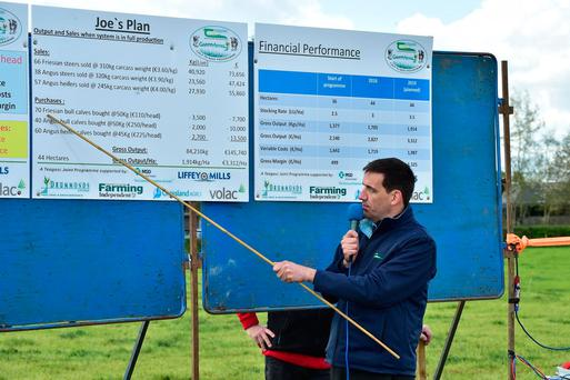 Pierce Kelly from Teagasc addresses the crowd at last week's Green Acres Calf to Beef event on Joe Farrell's holding in Castledermot, Co Kildare