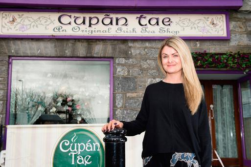 Business owner Alison McArdle at her café Cupán Tae on Quay Lane, which has been flooded many times. Photo: Andrew Downes