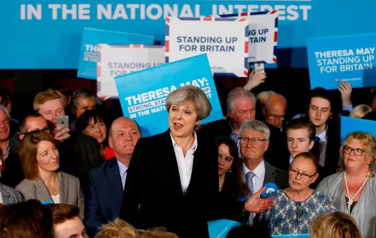 British Prime Minister Theresa May delivers a speech to Conservative Party members in Mawdesley, Ormskirk. Photo: Andrew Yates, Reuters