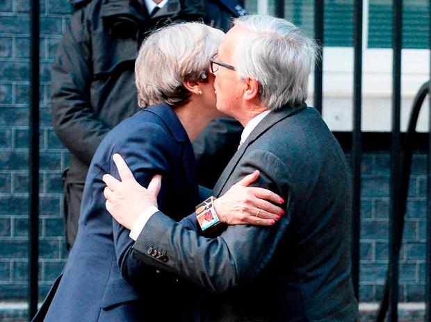 Theresa May and Jean-Claude Juncker at last week's meeting. Photo: John Stillwell/PA Wire