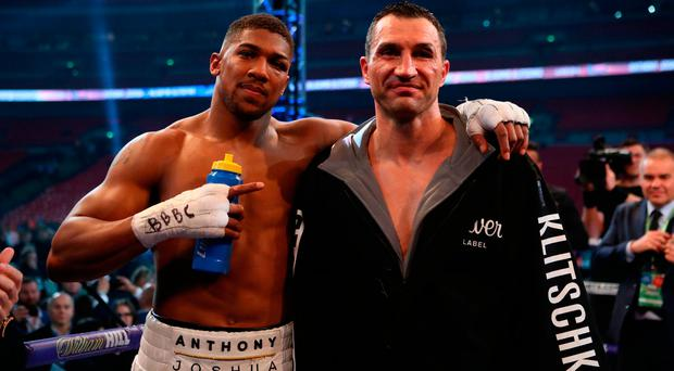 Anthony Joshua post-fight with Wladimir Klitschko. Photo credit: Nick Potts/PA Wire