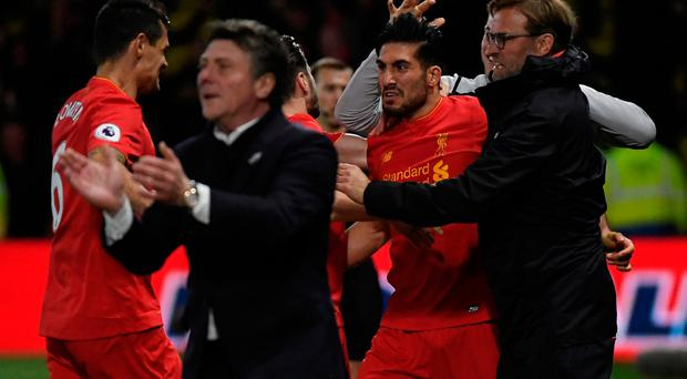 Liverpool's Emre Can celebrates scoring their first goal