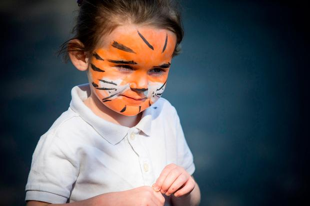 Lily Byrne (3) at the May Day march in Dublin. Photo: Mark Condren