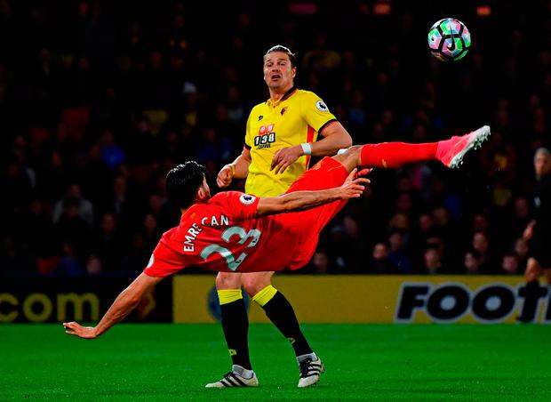Emre Can of Liverpool scores with an overhead kick. Photo: Getty