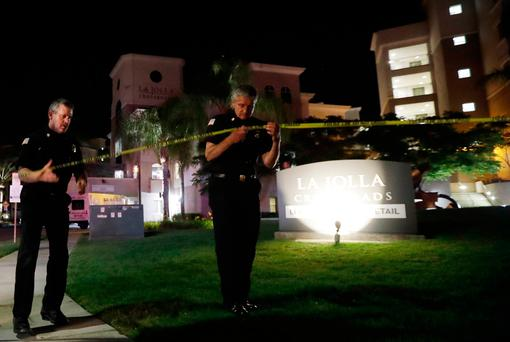 The apartment complex in San Diego where the rampage took place. Photo: AP