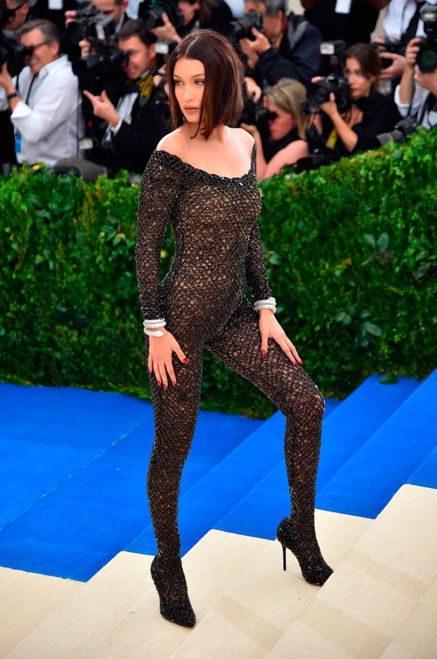 Bella Hadid Had To Be Sewn Into Her Bodysuit For The Met Gala See