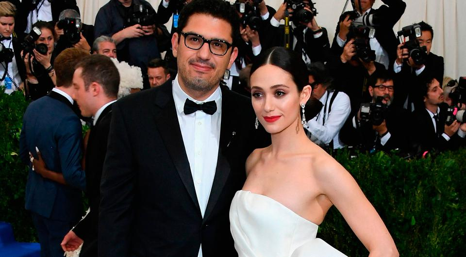 Sam Esmail (L) and Emmy Rossum attend the