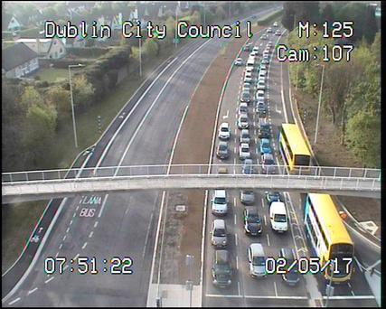 Traffic this morning at the N11/Jobstown. Picture: Dublin City Council