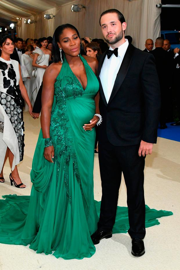Serena Williams Cradles Baby Bump In Glittering Gown As
