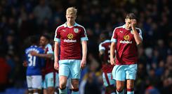 LIVERPOOL, ENGLAND - APRIL 15: Ben Mee of Burnley and Robbie Brady of Burnley are dejected after the Premier League match between Everton and Burnley at Goodison Park on April 15, 2017 in Liverpool, England. (Photo by Alex Livesey/Getty Images)