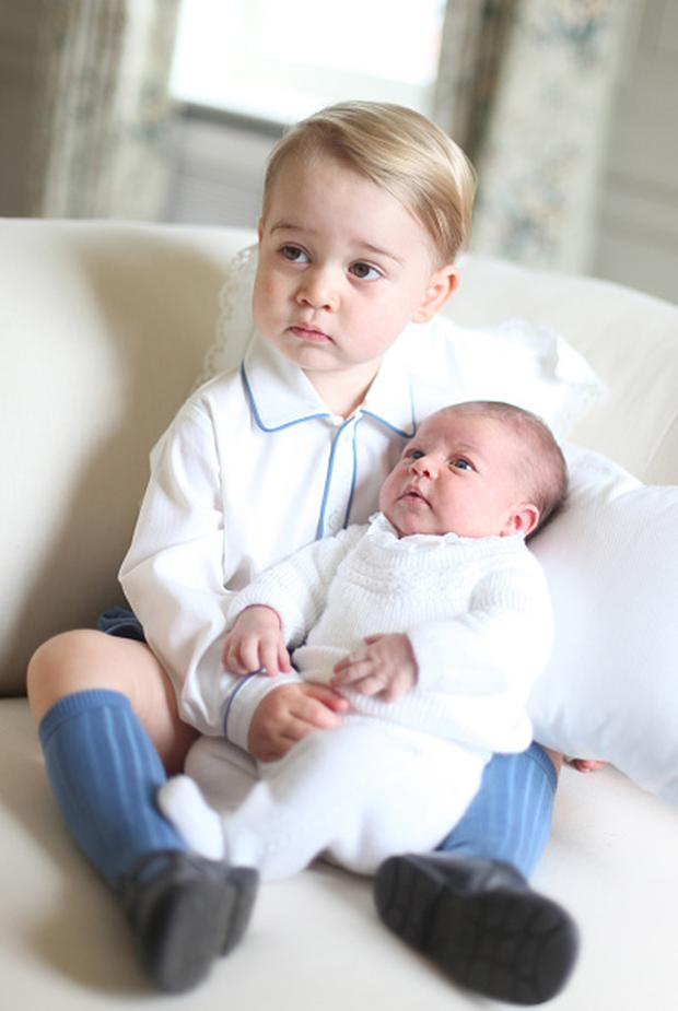 In this undated handout image released by the Duke and Duchess of Cambridge, Prince George and Princess Charlotte at Anmer Hall in mid-May in Norfolk, England. (Photo by HRH The Duchess of Cambridge via Getty Images)