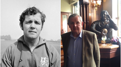 Sean Lynch on tour with the Lions in 1971 (left) and beside his bust in The Swan Bar.