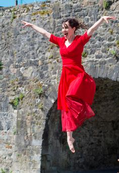Galway dancer Stephanie Dufresne jumps for joy at the announcement of the programme for the 40thGalway International Arts Festival. Photo: Andrew Downes