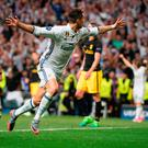 Real Madrid's Portuguese forward Cristiano Ronaldo celebrates