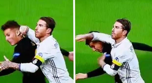 Sergio Ramos appears to elbow Lucas Hernandez in the back of the head CREDIT: TWITTER