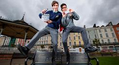 Mattia Nardon, from Cobh Community College, and Rithik Makker, from Coláiste Muire, Cobh, celebrate winning the overall prize in the Trend Micro 'What's Your Story' video competition. Photo: Cathal Noonan