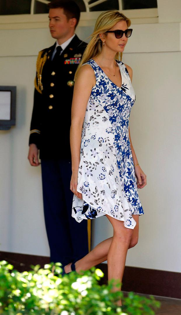 Ivanka Trump arrives to watch U.S. President Donald Trump present the U.S. Air Force Academy football team with the Commander-in-Chief trophy in the Rose Garden of the White House in Washington, U.S., May 2, 2017. REUTERS/Joshua Roberts