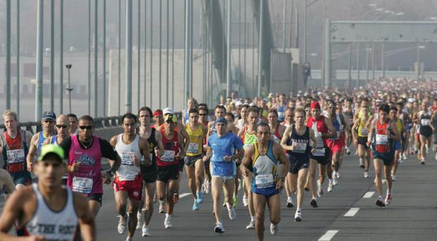 UNITED STATES - NOVEMBER 06: Track & Field: ING New York City Marathon, View of miscellaneous action crossing Verrazano Narrows Bridge, New York, NY 11/6/2005 (Photo by Chuck Solomon/Sports Illustrated/Getty Images) (SetNumber: X74534 TK1)