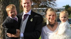 Happy family: Matthew Kennedy with wife Tracey and their eldest two children Jude and Kristen