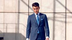 Suit, €1,349, Canali; shirt, €139, and tie, €129, Louis Copeland; pocket square, €49, Stenstroms; shoes, €249, Magnanni; bag, €349, Ted Baker