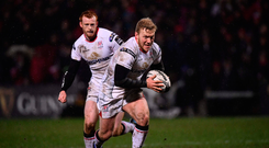 3 March 2017; Stuart Olding of Ulster during the Guinness PRO12 Round 17 match between Ulster and Benetton Treviso at the Kingspan Stadium in Belfast. Photo by Ramsey Cardy/Sportsfile