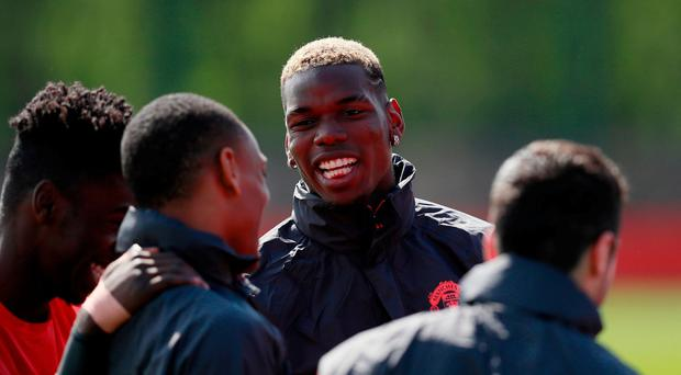 Manchester United's Paul Pogba during training today