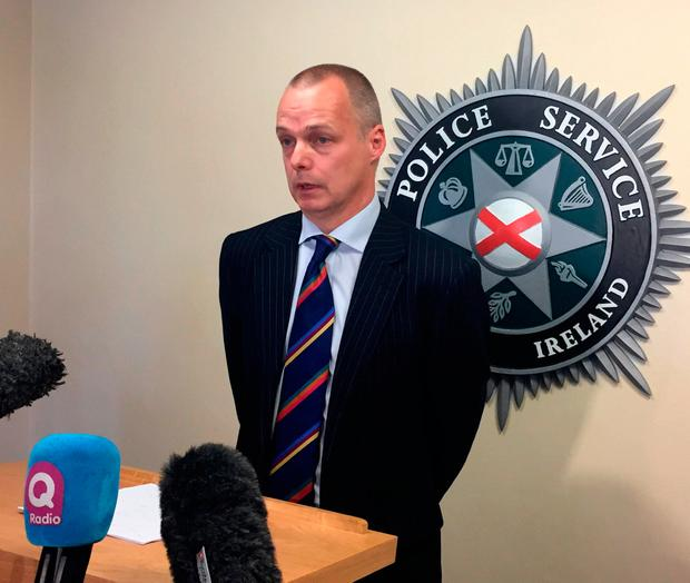 Detective Superintendent Kevin Geddes speaking at police headquarters in Belfast, after Christine Connor posed as the model fiancee of a Swedish ice hockey star to entrap a man into taking part in her bid to murder police officers. David Young/PA Wire