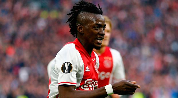 Ajax's Bertrand Traore celebrates scoring his side's fourth goal. Photo: REUTERS