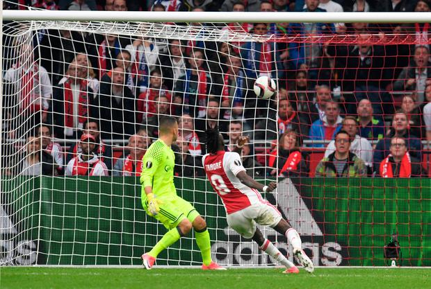 Ajax's Bertrand Traore makes it 4-1. Photo: Reuters