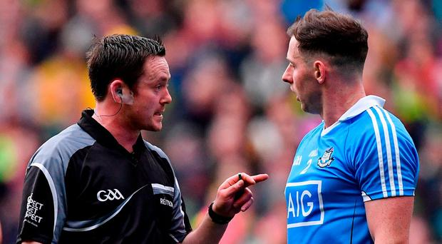 The National League final between Kerry and Dublin was referee Paddy Neilan's first top-flight match this year. Photo: Ramsey Cardy/Sportsfile