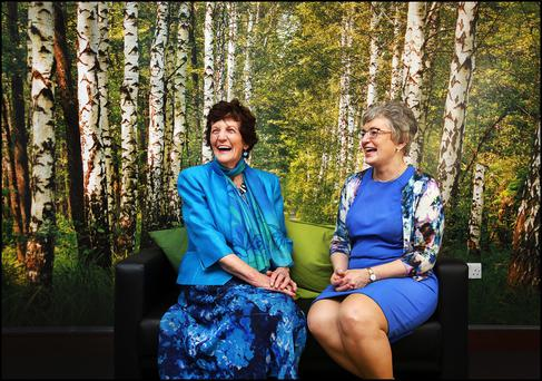 Philomena Lee and Children's Minister Katherine Zappone at the conference. Photo: Steve Humphreys