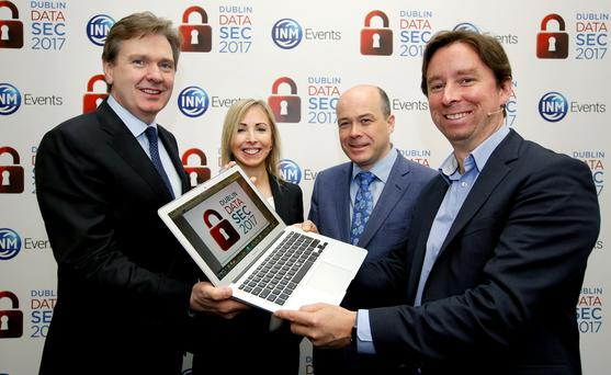 Editor in Chief of INM Stephen Rae; Data Protection Commissioner Helen Dixon; Minister for Communications Denis Naughten; and Irish Independent Technology Editor Adrian Weckler at the Datasec conference. Photo: Gerry Mooney