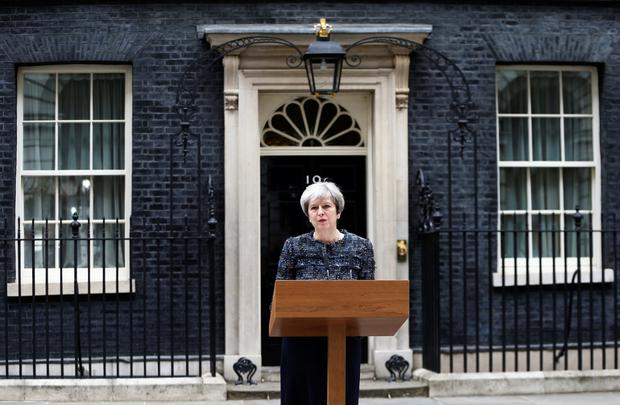 Britain's PM Theresa May speaks outside 10 Downing Street after Parliament was dissolved ahead of the general election Picture: Reuters