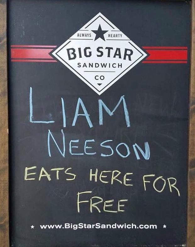 Liam Neeson with staff at Big Star Sandwich Co. Pic: Twitter