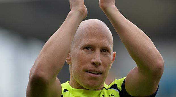 Peter Stringer of Sale Sharks celebrates as Sale Sharks qualify for the Champions Cup during the Aviva Premiership match between Newcastle Falcons and Sale Sharks at Kingston Park on May 7 in Newcastle Upon Tyne, England. (Photo by Mark Runnacles/Getty Images)