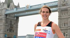 Kelly Sotherton attends a photocall ahead of taking part in the Virgin London Marathon at The Tower Hotel. (Photo by Ferdaus Shamim/WireImage)