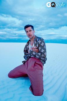 Breaking Brad: Pitt poses in the dunes in a moody new photoshoot. Photos: Ryan McGinley/GQ Style