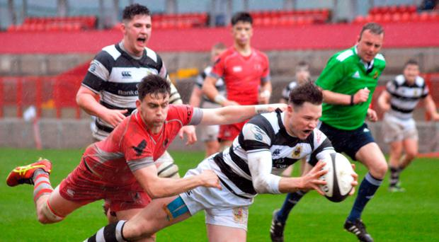 Sean French scores for Pres in the Munster Schools Senior Cup final