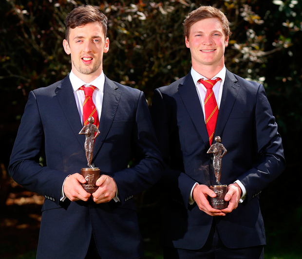 Young Player of the Year Darren Sweetnam and Player of the Year Tyler Bleyendaal. Photo: James Crombie/INPHO