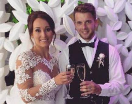 Kirsty and Adam Maxwell pictured on their wedding day