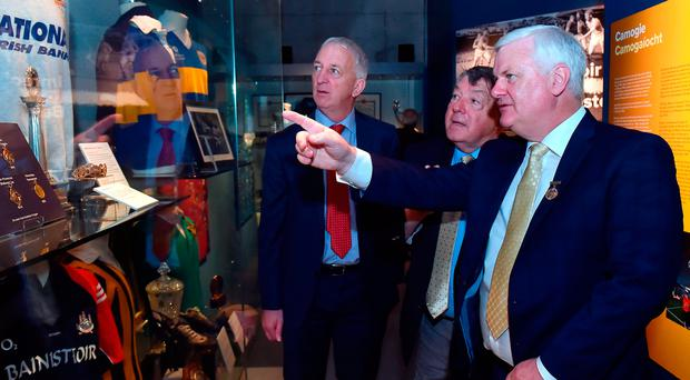 GAA president Aogán Ó Fearghaíl (far right) with Michael 'Babs' Keating (centre) and Conor Counihan during the official opening of the 'Imreoir to Bainisteoir' exhibition launch at the GAA Museum in Croke Park yesterday. Photo: Matt Browne/Sportsfile
