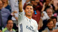Cristiano Ronaldo celebrates after completing his hat-trick. Photo: Paul Hanna/Action Images via Reuters