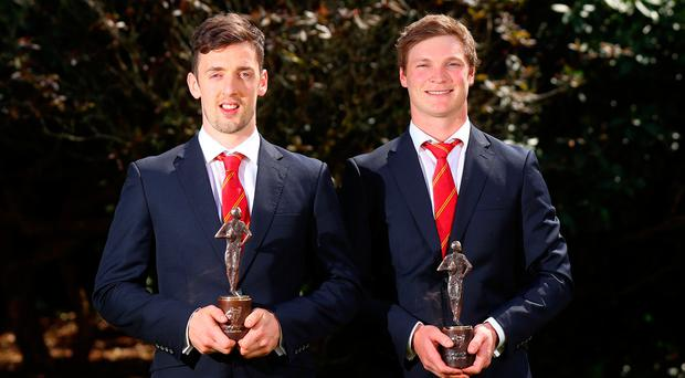 Munster Young Player of the Year Darren Sweetnam and Player of the Year Tyler Bleyendaal at yesterday's awards in the Maryborough Hotel, Cork. Photo: James Crombie/INPHO
