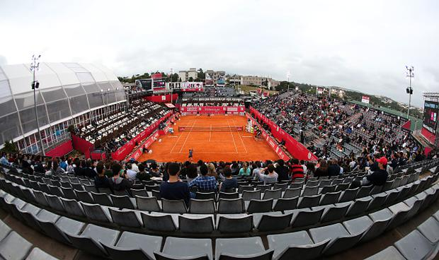 Panoramic view of Center Court during the match between David Ferrer from Spain and Frederico Ferreira Silva from Portugal for the Millennium Estoril Open at Clube de Tenis do Estoril on May 4, 2017 in Estoril, Portugal. (Photo by Gualter Fatia/Getty Images)