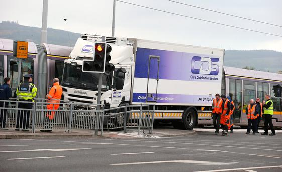 A truck has crashed into a Luas at the Katherine Tynan Road in Dublin. Picture credit; Damien Eagers
