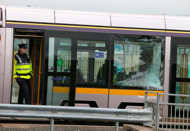 Broken windows after a truck has crashed into a Luas at the Katherine Tynan Road in Dublin. Picture: Damien Eagers