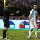 Lionel Messi of Argentina complains to a linesman during a match between Argentina and Chile as part of FIFA 2018 World Cup Qualifiers at Monumental Stadium on March 23, 2017 in Buenos Aires, Argentina. (Photo by Daniel Jayo/LatinContent/Getty Images)