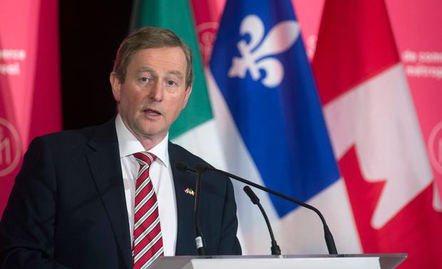 Enda Kenny addresses a luncheon in Montreal Photo: (Paul Chiasson/The Canadian Press via AP)