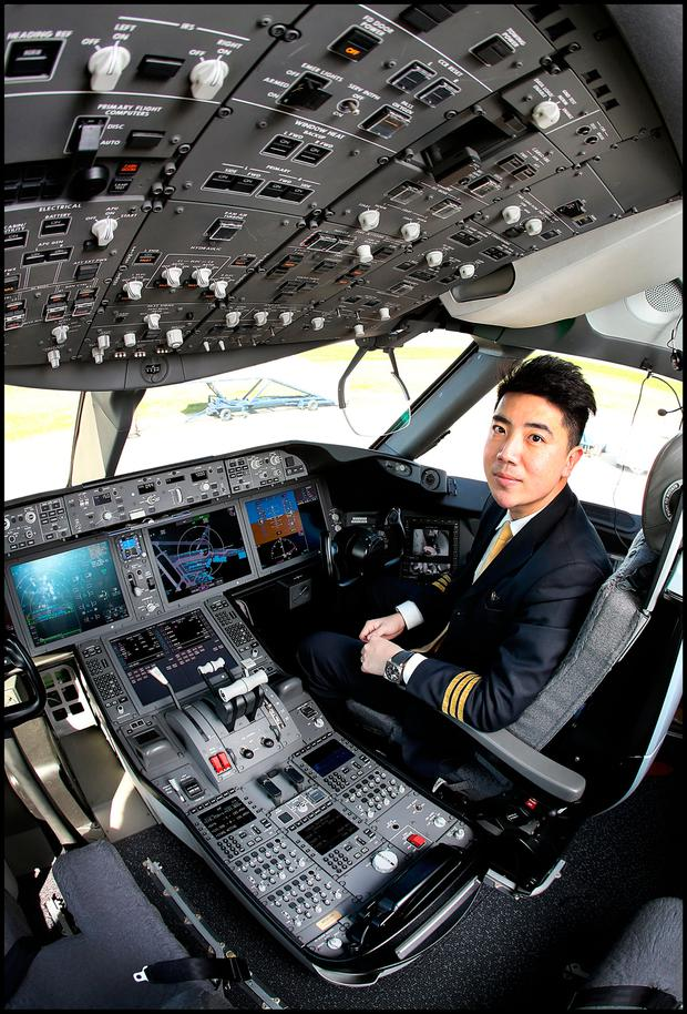 First Officer Yang Zhan in the cockpit of the Boeing Business 787 Dream Jet which flew into Dublin Airport. Pic Steve Humphreys 5th May 2017.